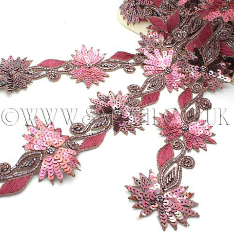 PINK BROWN FLORAL SEQUIN BEADED TRIM - sarahi.NYC - Sarahi.NYC
