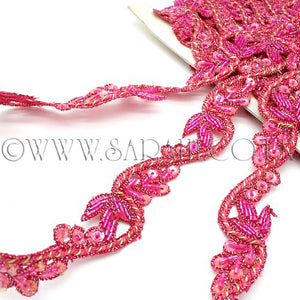 PINK FLORAL SEQUIN BEADED TRIM - sarahi.NYC - Sarahi.NYC