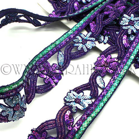 PURPLE BLUE BEADED SEQUIN TRIM - sarahi.NYC - Sarahi.NYC