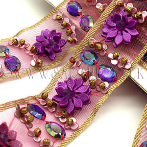 PURPLE GEMS AND FLOWER EMBROIDERY RHINESTONE TRIM - sarahi.NYC - Sarahi.NYC