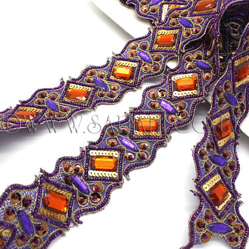 PURPLE ORANGE RHINESTONE TRIM - sarahi.NYC - Sarahi.NYC