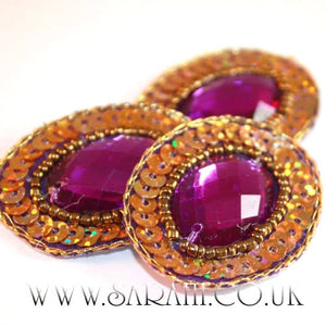 PURPLE/GOLD  OVAL  MOTIF - sarahi.NYC - Sarahi.NYC