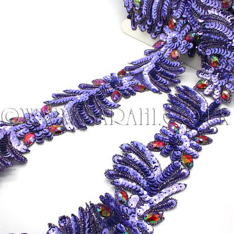 PURPLE RED RHINESTONE SEQUIN TRIM - sarahi.NYC - Sarahi.NYC
