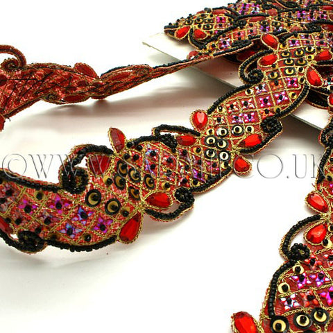 RED BLACK RHINESTONE SEQUIN TRIM - sarahi.NYC - Sarahi.NYC