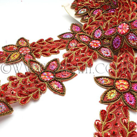 RED MAROON WILD FLOWER GEM TRIM - sarahi.NYC - Sarahi.NYC