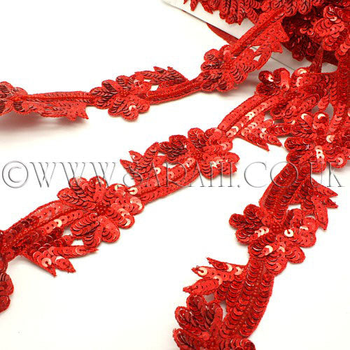 RED FLORAL SEQUIN  TRIM - sarahi.NYC - Sarahi.NYC