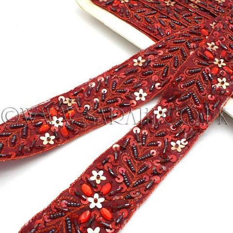 RED MAROON SEQUIN RIBBON TRIM - sarahi.NYC - Sarahi.NYC