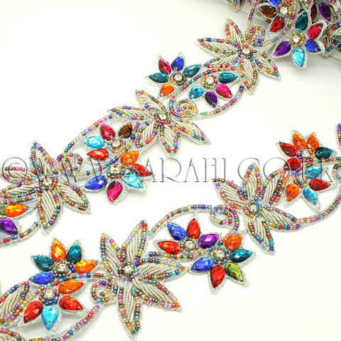 MULTI COLOUR SILVER RHINESTONE AND BEADED  TRIM - sarahi.NYC - Sarahi.NYC