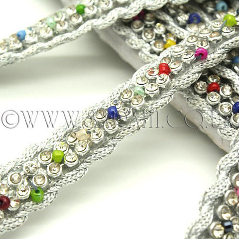 SILVER MULTI-COLOUR CRYSTAL TRIM - sarahi.NYC - Sarahi.NYC