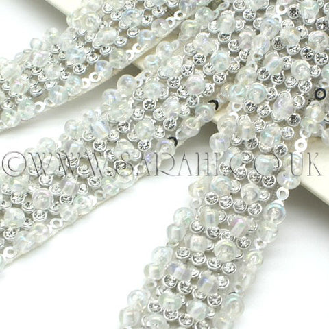 WHITE BEADED CRYSTAL DIAMONTE TRIM - sarahi.NYC - Sarahi.NYC