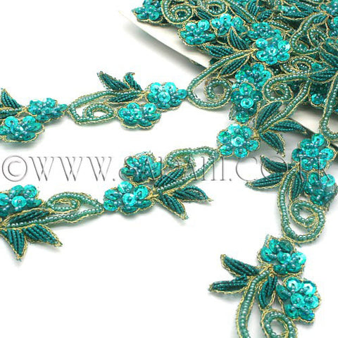 TEAL GREEN SEQUIN FLORAL BEADED TRIM - sarahi.NYC - Sarahi.NYC