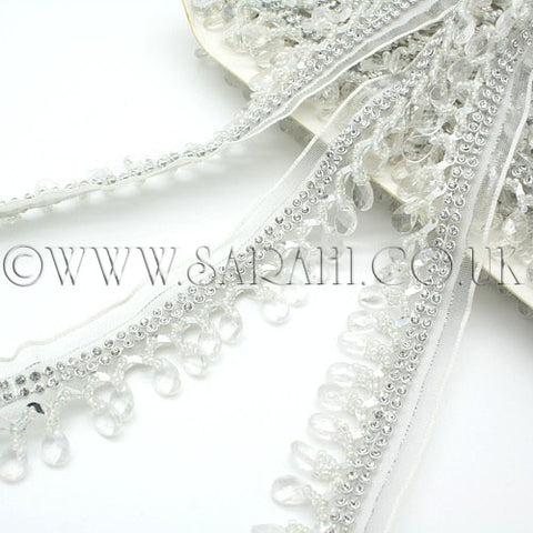 SILVER WHITE CRYSTAL BEADED FRINGE TRIM - sarahi.NYC - Sarahi.NYC
