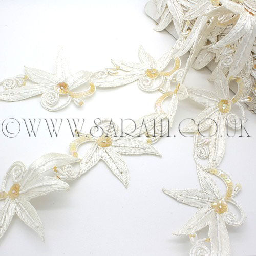 WHITE SEQUIN  FLORAL EMBROIDERY TRIM - sarahi.NYC - Sarahi.NYC