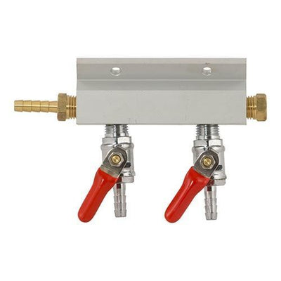 Brewmaster C02 Regulators 2 Way Gas Manifold - 1/4 in. (Aluminum)