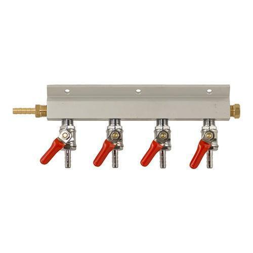 Brewmaster C02 Regulators 4 Way 4 Way Gas Manifold - 1/4 in. (Aluminum)