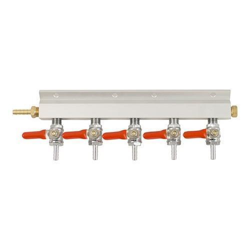 Brewmaster C02 Regulators 5 Way 5 Way Gas Manifold - 1/4 in. (Aluminum)