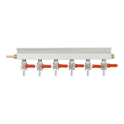 Brewmaster C02 Regulators 6 Way 6 Way Gas Manifold - 1/4 in. (Aluminum)