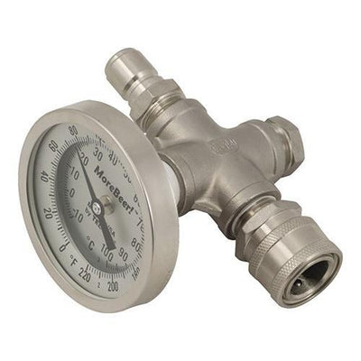 Brewmaster Immersion Wort Chillers In-Line Thermometer (With Quick Disconnects)