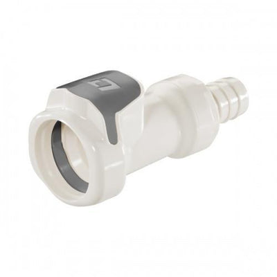 "Brewmaster Plastic & Brass Disconnects High Temp Plastic Female QD - 1/2"" Barb W/ Shutoff Valve"