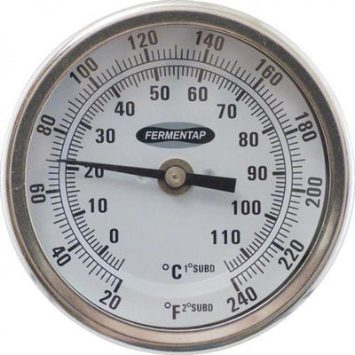 Brewmaster Thermometer Fermentap Bi-Metal Dial Thermometer (3 in Face x 6 in Probe)