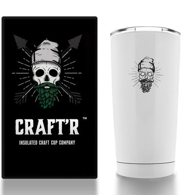 Craft'r Insulated Cup Company Original Edition CRAFTR Cup CRAFTR Beer Cup Gloss White