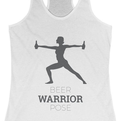 CRAFTR Ladies Tanks Solid White / XS Beer Warrior Pose (8 Colors Available)