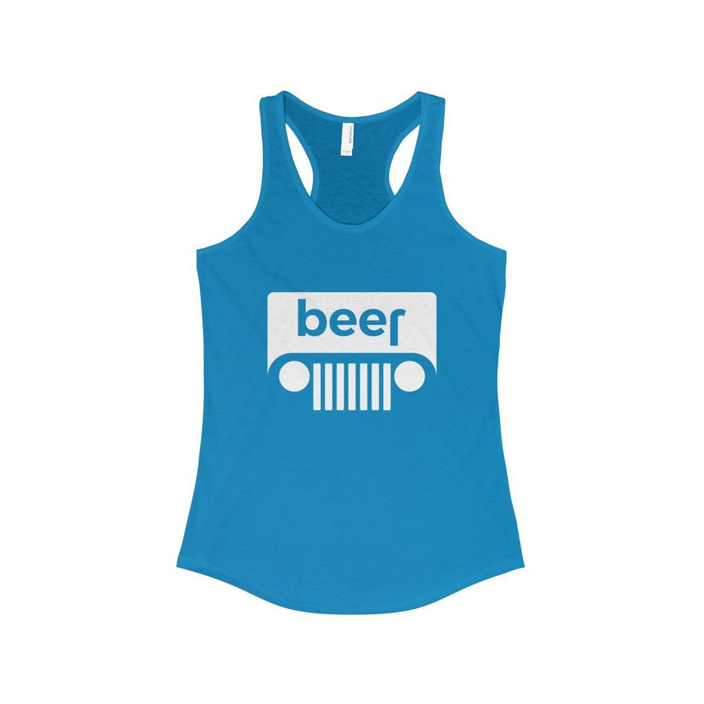 Printify Ladies Tanks Solid Turquoise / XS Beer/Jeep Ladies Tank (7 colors available)