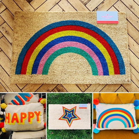 Rainbow Door Mat, Happy Cushion, Star Door Mat nad Rainbow Cushion from Myles From Home shop UK