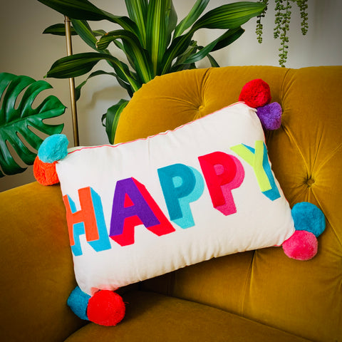 Embroidered Cushion - HAPPY (Multicoloured) - mylesfromhome.co.uk