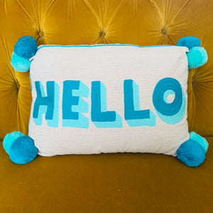 Embroidered Cushion - HELLO (Turquoise & Teal) - mylesfromhome.co.uk