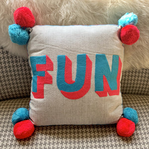 Embroidered Cushion - FUN - mylesfromhome.co.uk