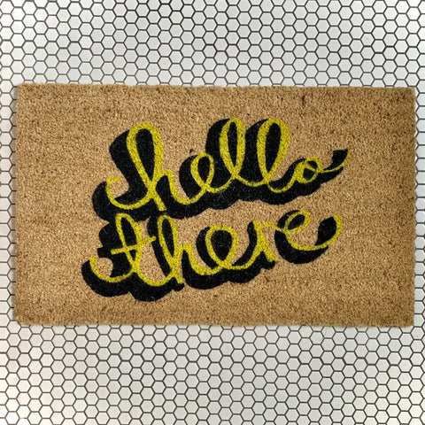 Cheerful Welcome Door Mat - HELLO THERE - mylesfromhome.co.uk