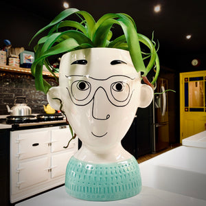Doodle Man's Face With Glasses Vase - mylesfromhome.co.uk