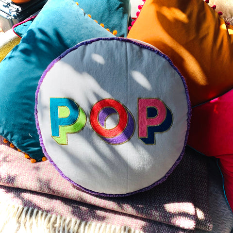 Embroidered Circle Cushion - POP - mylesfromhome.co.uk