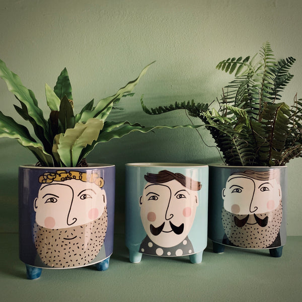 'Hipster Gent' Set of 3 Ceramic Pots / Planters - mylesfromhome.co.uk