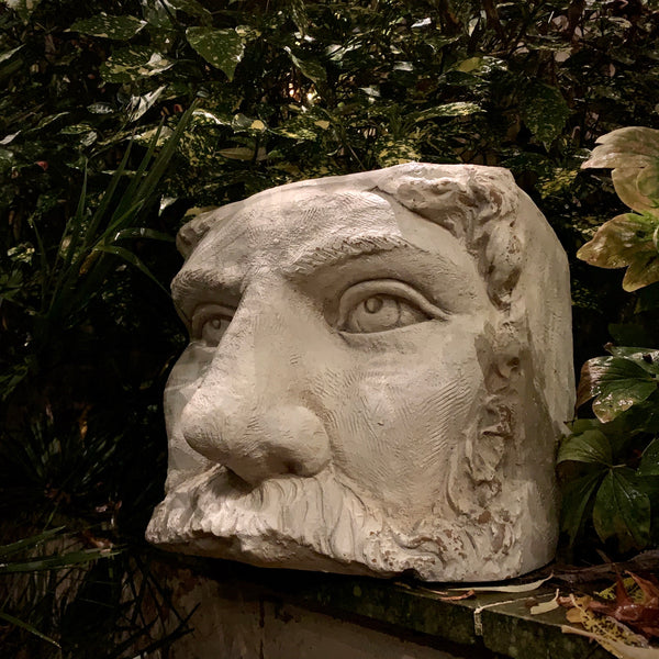 Large Rustic Stone Effect Classical Face Planter - mylesfromhome.co.uk