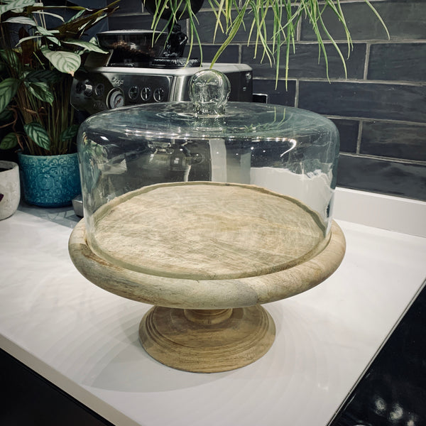 Recycled Glass Dome Cake Stand - mylesfromhome.co.uk