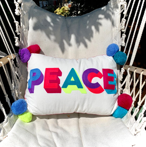 Embroidered Cushion - PEACE - mylesfromhome.co.uk