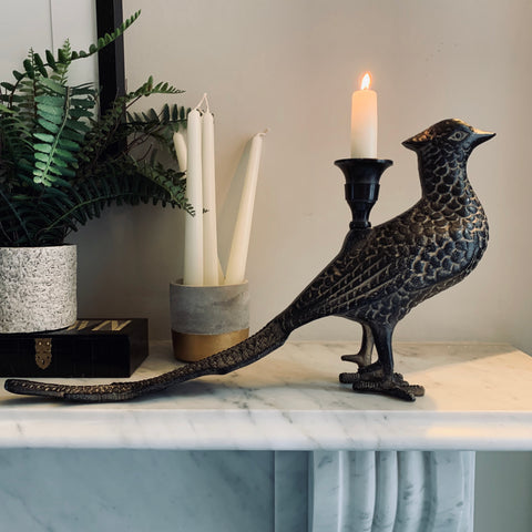 Brown Pheasant Candle Holder - mylesfromhome.co.uk