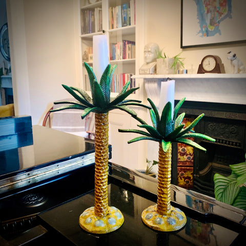 Cast Iron Palm Tree Candlestick
