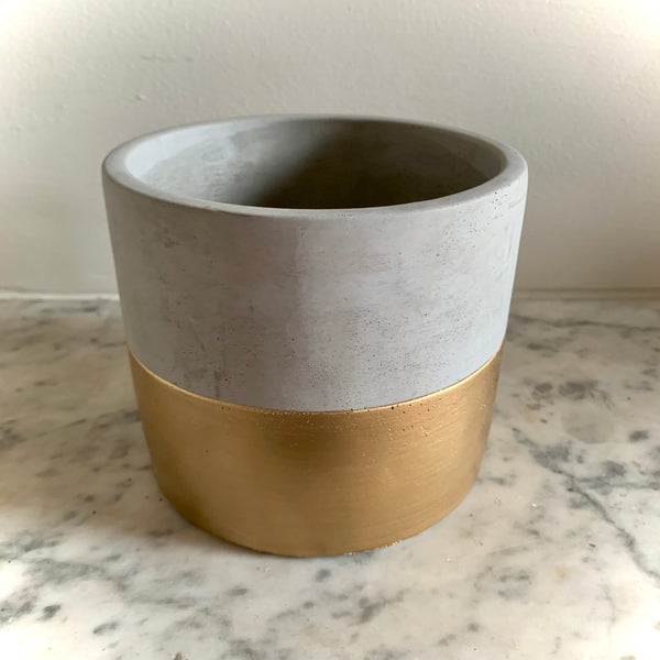 Cement Planter: Large Gold Dip - mylesfromhome.co.uk