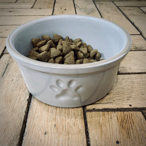 Stoneware Paw Print Dog Bowl - mylesfromhome.co.uk