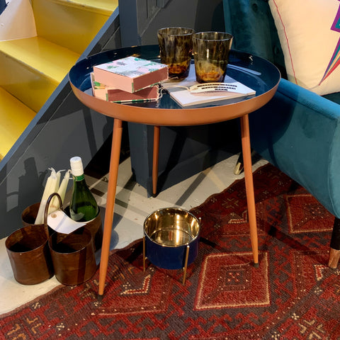 Dark Blue and Copper Side Table - mylesfromhome.co.uk
