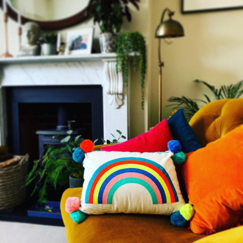 Embroidered Cushion - RAINBOW - mylesfromhome.co.uk