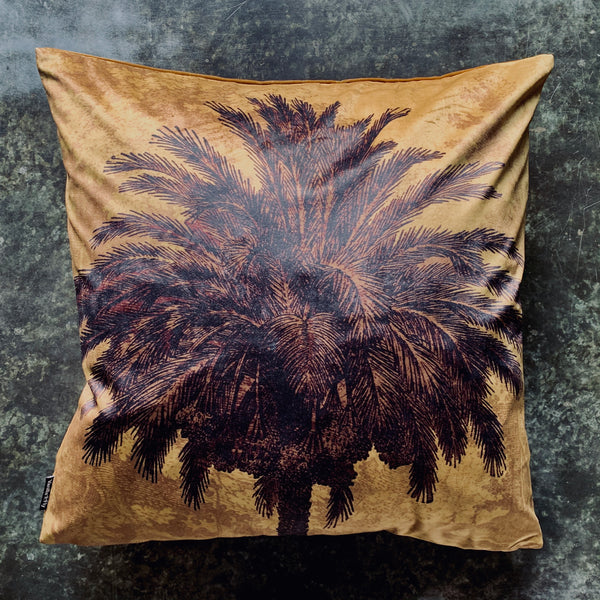 Mustard Palm Velvet Cushion - mylesfromhome.co.uk