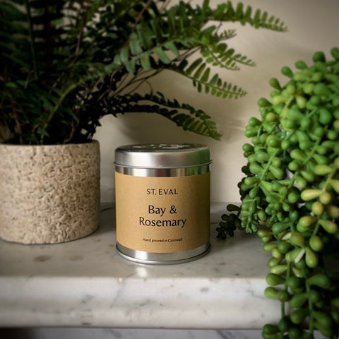 St. Eval Scented Candle Tin: Bay & Rosemary - mylesfromhome.co.uk