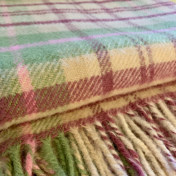 Cottage Pink Check Wool Throw - mylesfromhome.co.uk