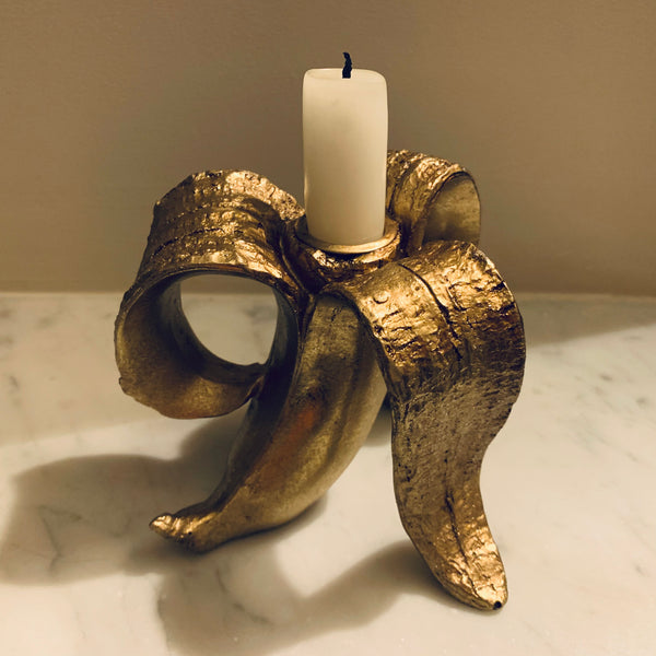 Golden Banana Candle Holder - mylesfromhome.co.uk