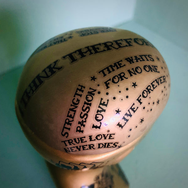 Small Gold Tattooed Phrenology Head Storage Jar - mylesfromhome.co.uk
