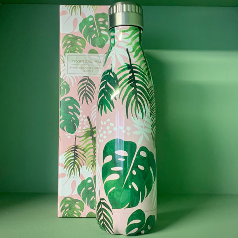 Stainless Steel Drinks Bottle: 'Tropical Palm' - mylesfromhome.co.uk